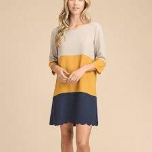 Vanilla Bay mustard colorblock dress SIZE S